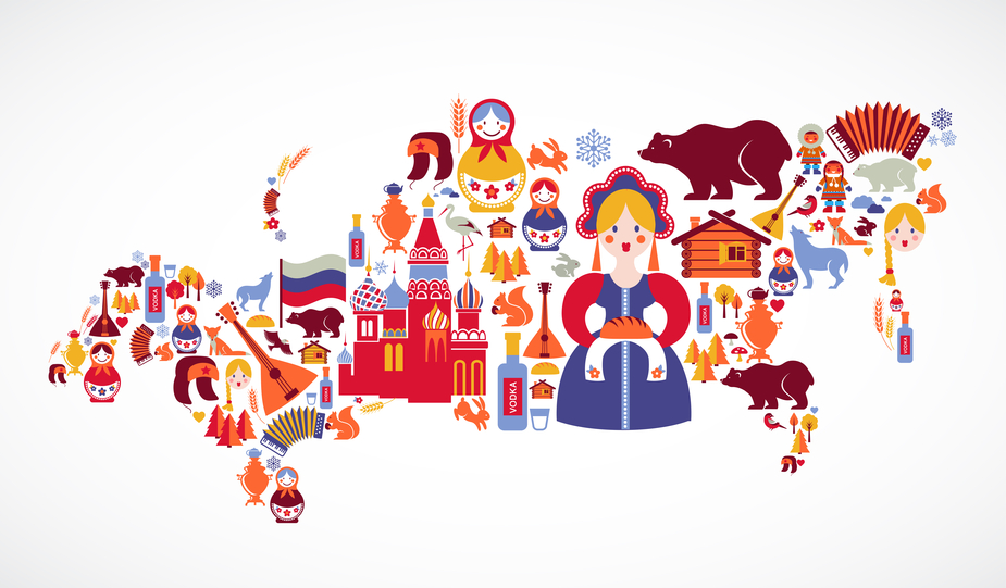 Russia map with vector icons and elements
